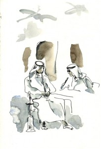 Smoking Chicha in the Souk Waqif